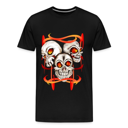 Three Fiery Skulls - Men's Premium T-Shirt