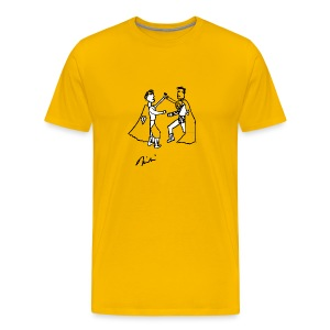 Yellow Two Supermen on Hollywood Blvd T-Shirts - Men's Premium T-Shirt