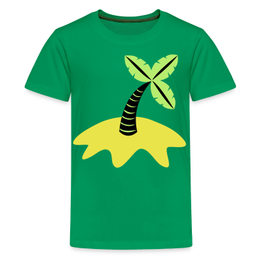 Kelly green palm tree and beach Kids' Shirts