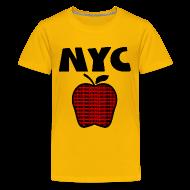 Kids' Shirts ~ Kids' Premium T-Shirt ~ KKT 'NYC, Big Apple With Boroughs, DIGITAL DIRECT' Kids' Tee, Yellow