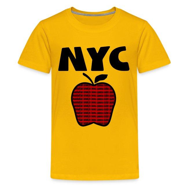 KKT 'NYC, Big Apple With Boroughs, DIGITAL DIRECT' Kids' Tee, Yellow