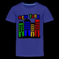 Kids' Shirts ~ Kids' Premium T-Shirt ~ KKT 'New York Multi-Color, 4 Brownstones' Kids' Tee, Turquoise
