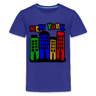 Kids' Shirts ~ Kids' Premium T-Shirt ~ KKT 'New York Multi-Color, 4 Brownstones' Kids' Tee, Turquoise