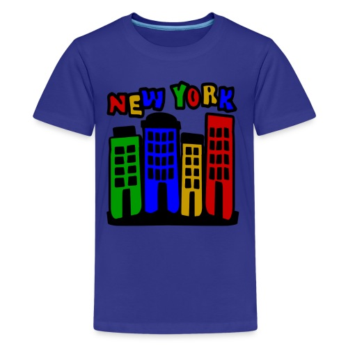 KKT 'New York Multi-Color, 4 Brownstones' Kids' Tee, Turquoise - Kids' Premium T-Shirt