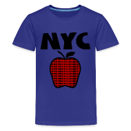 Kids' Shirts ~ Kids' Premium T-Shirt ~ KKT 'NYC, Big Apple With Boroughs, DIGITAL DIRECT' Kids' Tee, Turquoise