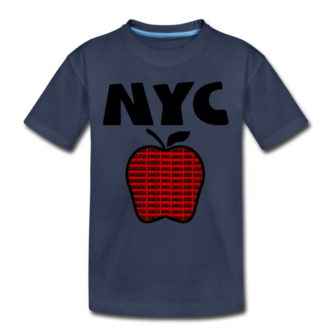 KKT 'NYC, Big Apple With Boroughs, DIGITAL DIRECT' Kids' Tee, Turquoise
