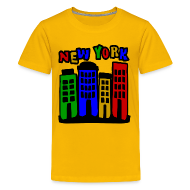 Kids' Shirts ~ Kids' Premium T-Shirt ~ KKT 'New York Multi-Color, 4 Brownstones' Kids' Tee