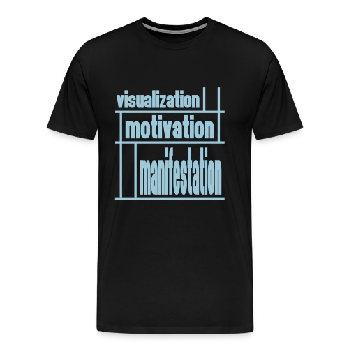 WUBT 'Visualization, Motivation, Manifestion Grid' Men's HW Tee, Black, Blue Print - Men's Premium T-Shirt