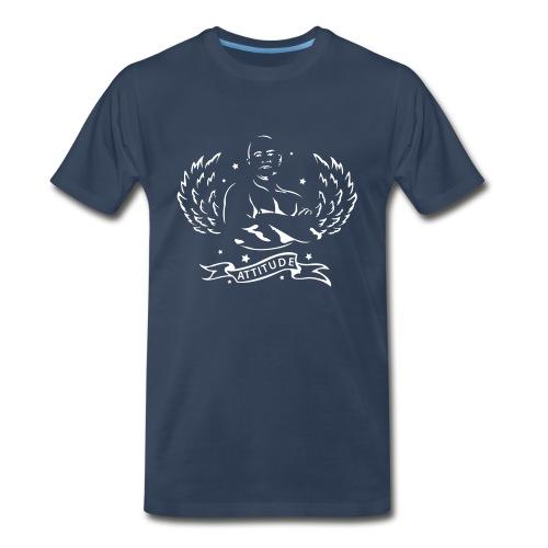Attitude White / Navy Heavyweight - Men's Premium T-Shirt