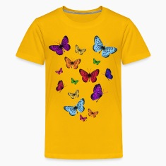 Yellow Rainbow Butterflies Kids' Shirts