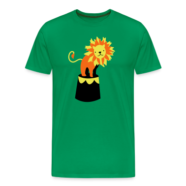 Kelly green circus lion on a podium cute! T-Shirts