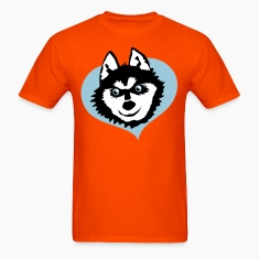 Orange Siberian husky face smile on love heart cute! T-Shirts