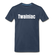T-Shirts ~ Men's Premium T-Shirt ~ Twainiac Dark Blue Shirt + White Font