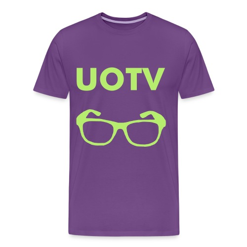 UOTV Glasses T-Shirt (Purple & Green) - Men's Premium T-Shirt