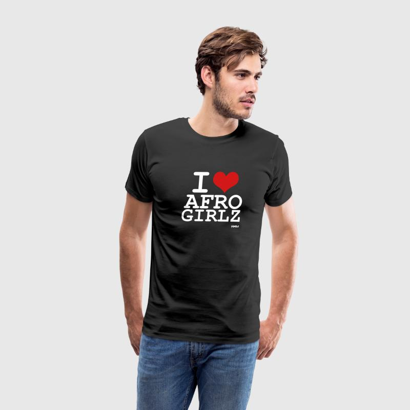 Black i love afro girlz by wam T-Shirts - Men's Premium T-Shirt