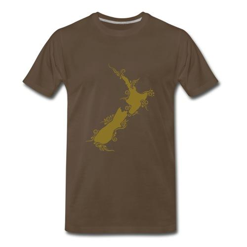 Men's Aotearoa/New Zealand Tee - gold metallic - Men's Premium T-Shirt
