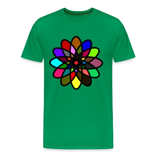 WUBT 'Kaleiscope Starburst, Multi-Color, Men's HW Tee, Bright Green - Men's Premium T-Shirt