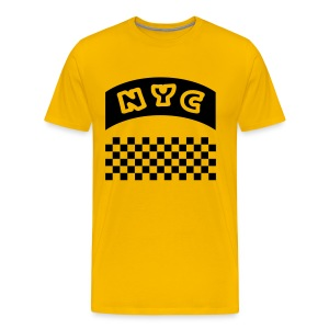WUBT 'NYC Banner With Taxi Squares' Men's HW Tee, Yellow - Men's Premium T-Shirt