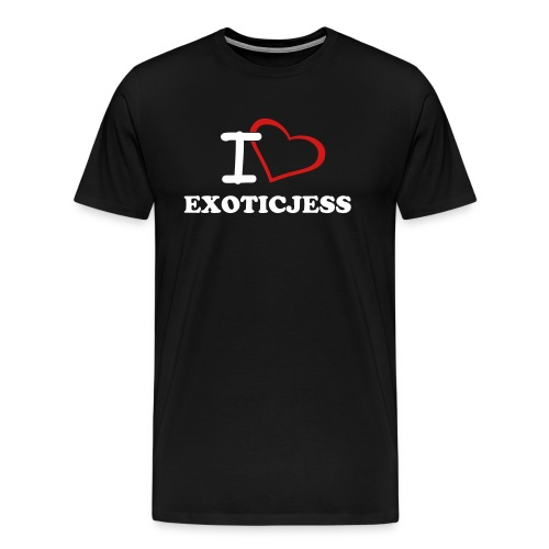 I Love ExoticJess T-Shirt (White Text) - Men's Premium T-Shirt