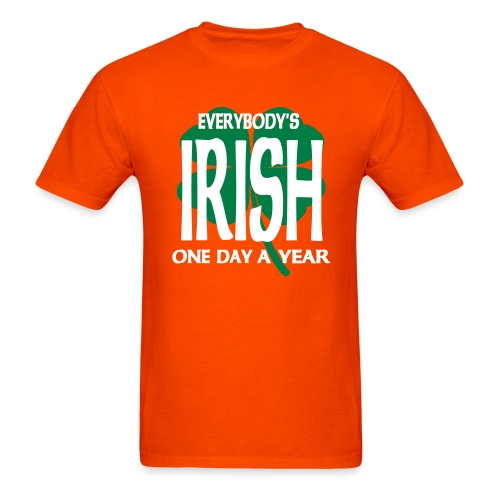 WUBT 'Everybody's Irish One Day Yr With 4-Leaf Clover' Men's HW Tee, Orange - Men's T-Shirt
