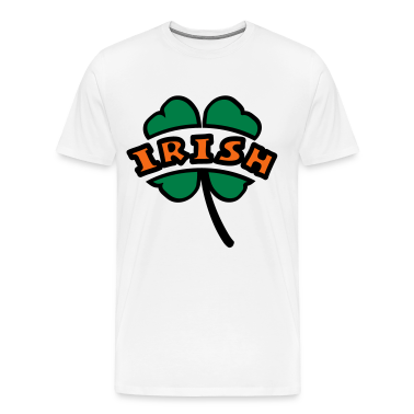 White Irish Arc Cutout 4-Leaf Clover T-Shirts
