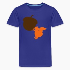 Royal blue squirrel with nut Kids' Shirts
