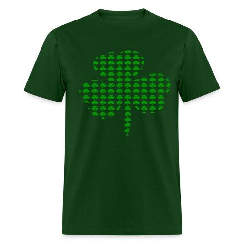 WUBT 'Tiny Shamrocks In Shape Of Big Shamrock--DIGITAL DIRECT', Men's HW Tee, Forest Green - Men's T-Shirt