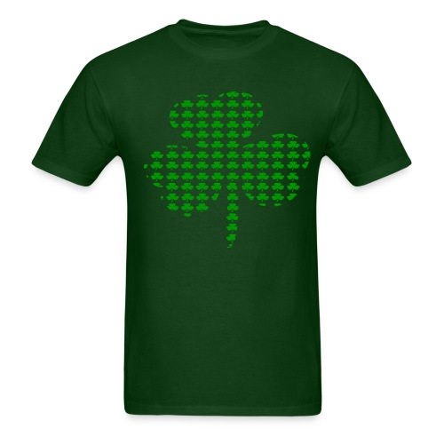 WUBT 'Tiny Shamrocks In Shape Of Big Shamrock--DIGITAL DIRECT', Men's HW Tee, Forest Green - Men's T-Shirt