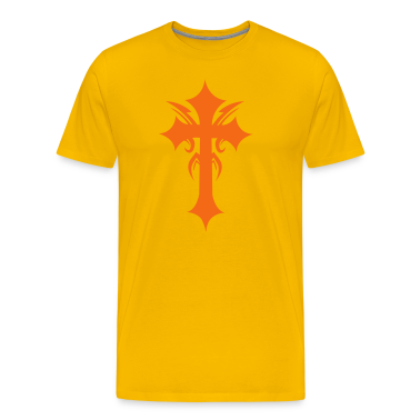 Gold embellished funky cool gothic cross T-Shirts