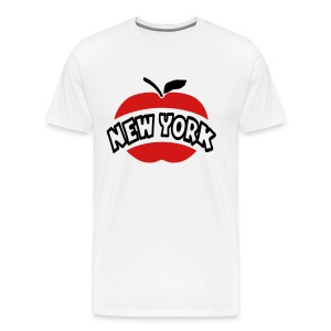 WUBT 'New York Arc Cutout Big Apple' Men's HW Tee, White - Men's Premium T-Shirt