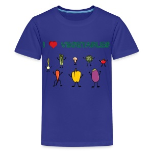 Turquoise I Love Vegetables Kids' Shirts - Kids' Premium T-Shirt