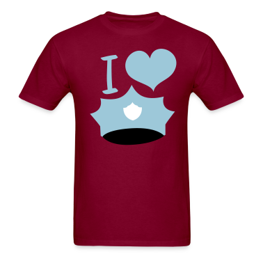 Burgundy i  heart cops police mans hat T-Shirts