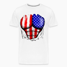 USA Flag Ripped Muscles, six pack, chest t-shirt