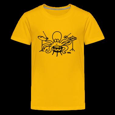 Yellow  Octopus drummer Kids' Shirts