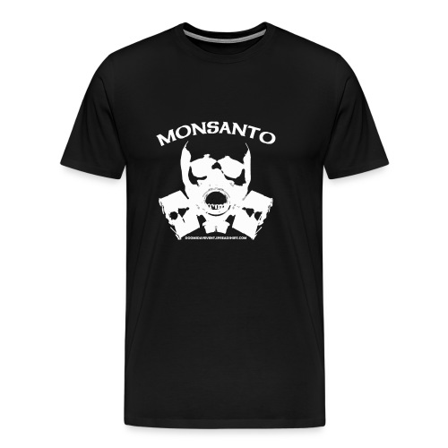 MONSANTO Gas Mask Heavyweight cotton Tee Black w white print - Men's Premium T-Shirt