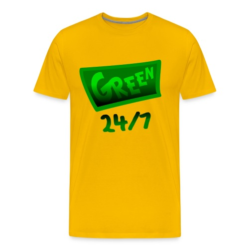WUBT 'Green 24-7 With Shading--DIGITAL DIRECT PRINT' Men's HW Tee, Yellow - Men's Premium T-Shirt