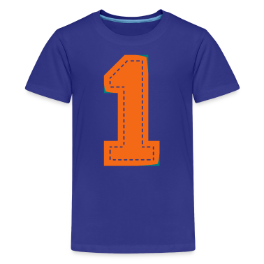 Turquoise Number One Patch Kids' Shirts