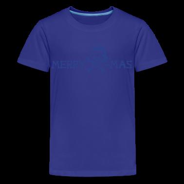 Turquoise merry xmas skull Kids' Shirts