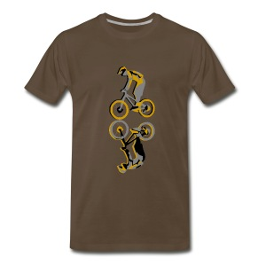 Mountain Bike Downhill T-shirt - Vector Print Brown - Men's Premium T-Shirt