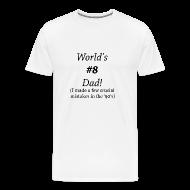T-Shirts ~ Men's Premium T-Shirt ~ World's #8 Dad '90's -Cream - Black Writing