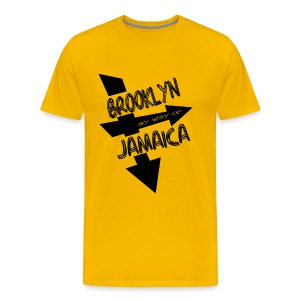 WUBT 'Brooklyn By Way Of Jamaica--DIGITAL DIRECT' Men's HW Tee, Gold - Men's Premium T-Shirt
