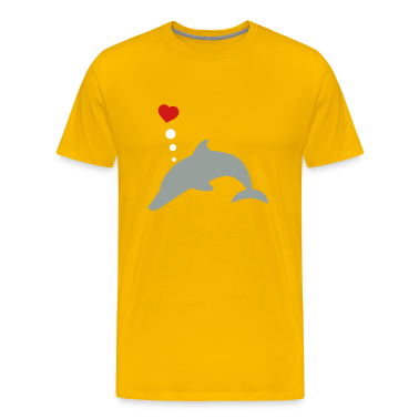 Gold bottle nosed dolphin with love heart  T-Shirts