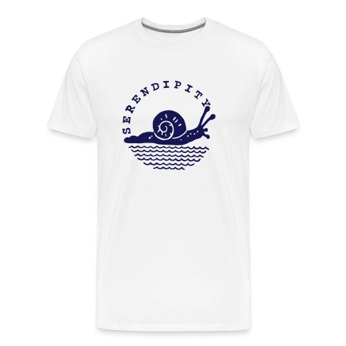 snail men's navy logo on white - Men's Premium T-Shirt