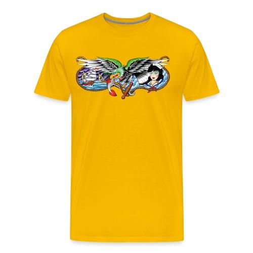 Eagle, Ship & Navy Girl - Men's Premium T-Shirt