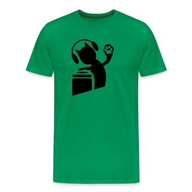 Kelly green DJ humor cat on the decks Hi Five with paws ! T-Shirts