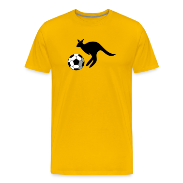 Gold jumping kangaroo playing soccer T-Shirts