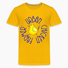 Yellow Urban Chicken Farmer Kids' Shirts