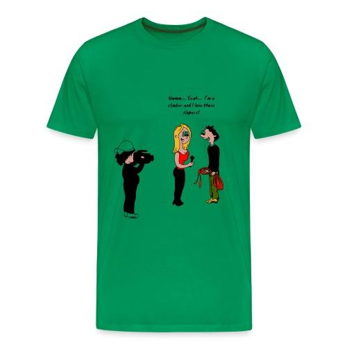 Climbing T-shirt - Climber Staring at Boobs - Men's Premium T-Shirt