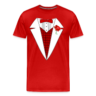 T-Shirts ~ Men's Premium T-Shirt ~ Valentine's Day Tuxedo T-Shirt, Red Heart w/ Rose