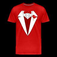 T-Shirts ~ Men's Premium T-Shirt ~ Valentine's Day Tuxedo T-Shirt, Red Heart w/ Rose